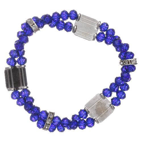 Bracciale Madonna Fatima con grani cristallo blu a doppio 2