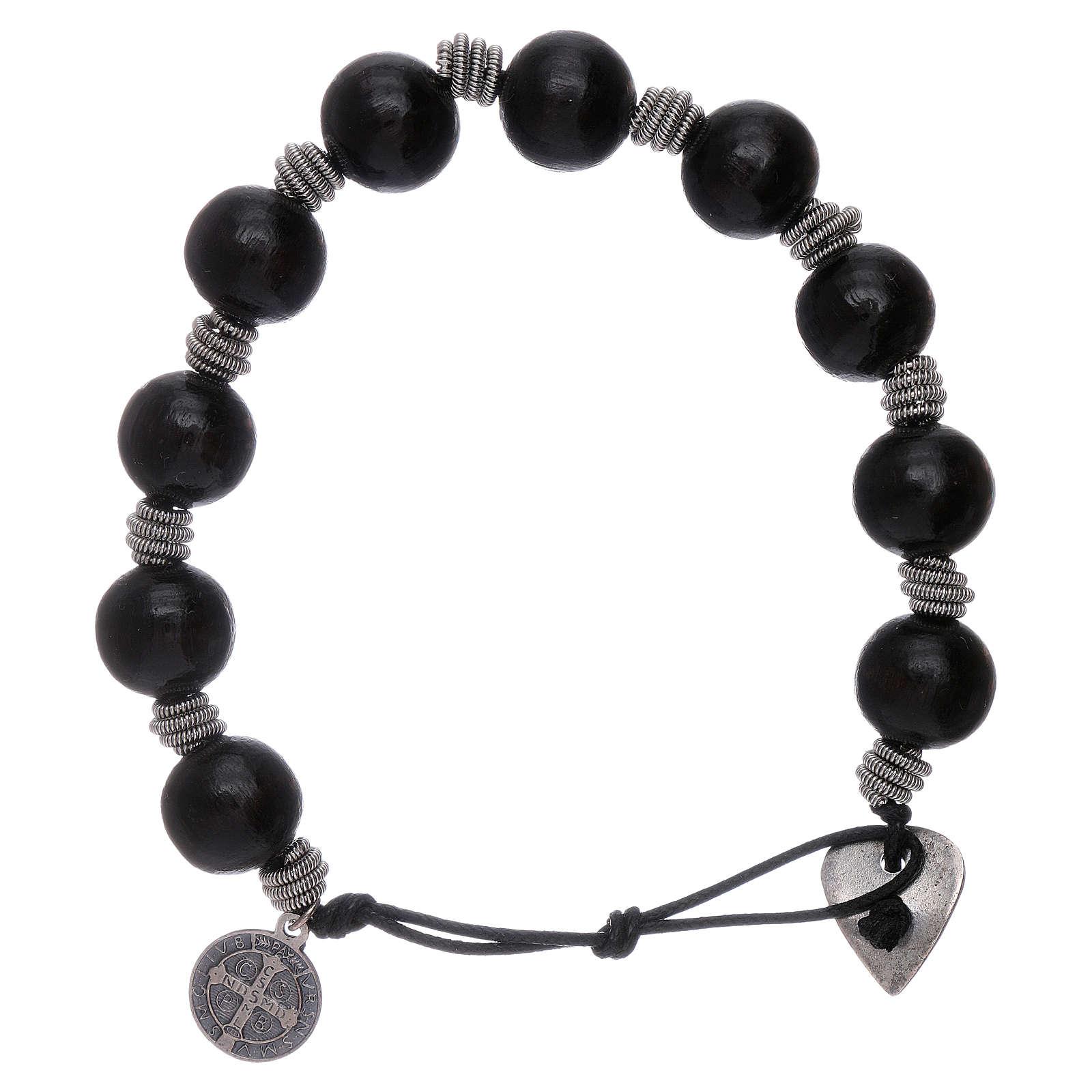 Dozen rosary bracelet Saint Benedict grains 12 mm wood 4