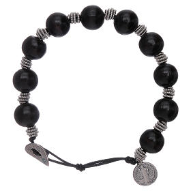 Dozen rosary bracelet Saint Benedict grains 12 mm wood s1