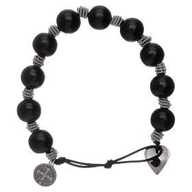 Dozen rosary bracelet Saint Benedict grains 12 mm wood s2