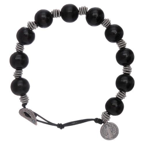 Dozen rosary bracelet Saint Benedict grains 12 mm wood 1