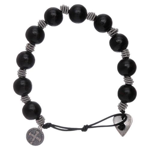 Dozen rosary bracelet Saint Benedict grains 12 mm wood 2