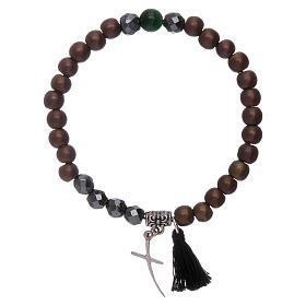 Bracelet in hematite with stylized cross s2