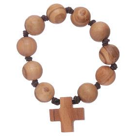 Bracelet chapelet dizainier perles et croix bois s1