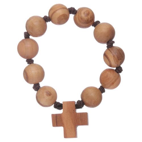 Bracelet chapelet dizainier perles et croix bois 1