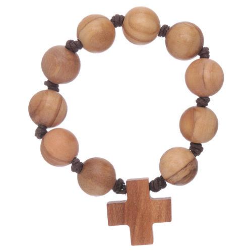 Bracelet chapelet dizainier perles et croix bois 2