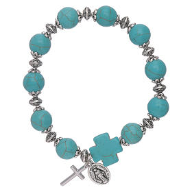 Elastic bracelet turquoise glass grains 10 mm with cross s1