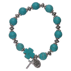 Elastic bracelet turquoise glass grains 10 mm with cross s2