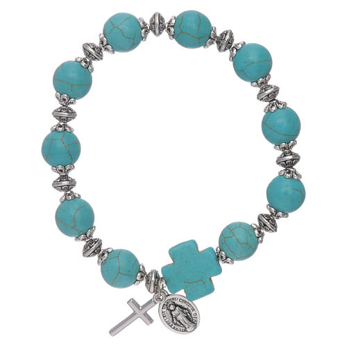 Elastic bracelet turquoise glass grains 10 mm with cross 1