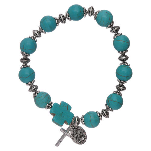 Elastic bracelet turquoise glass grains 10 mm with cross 2
