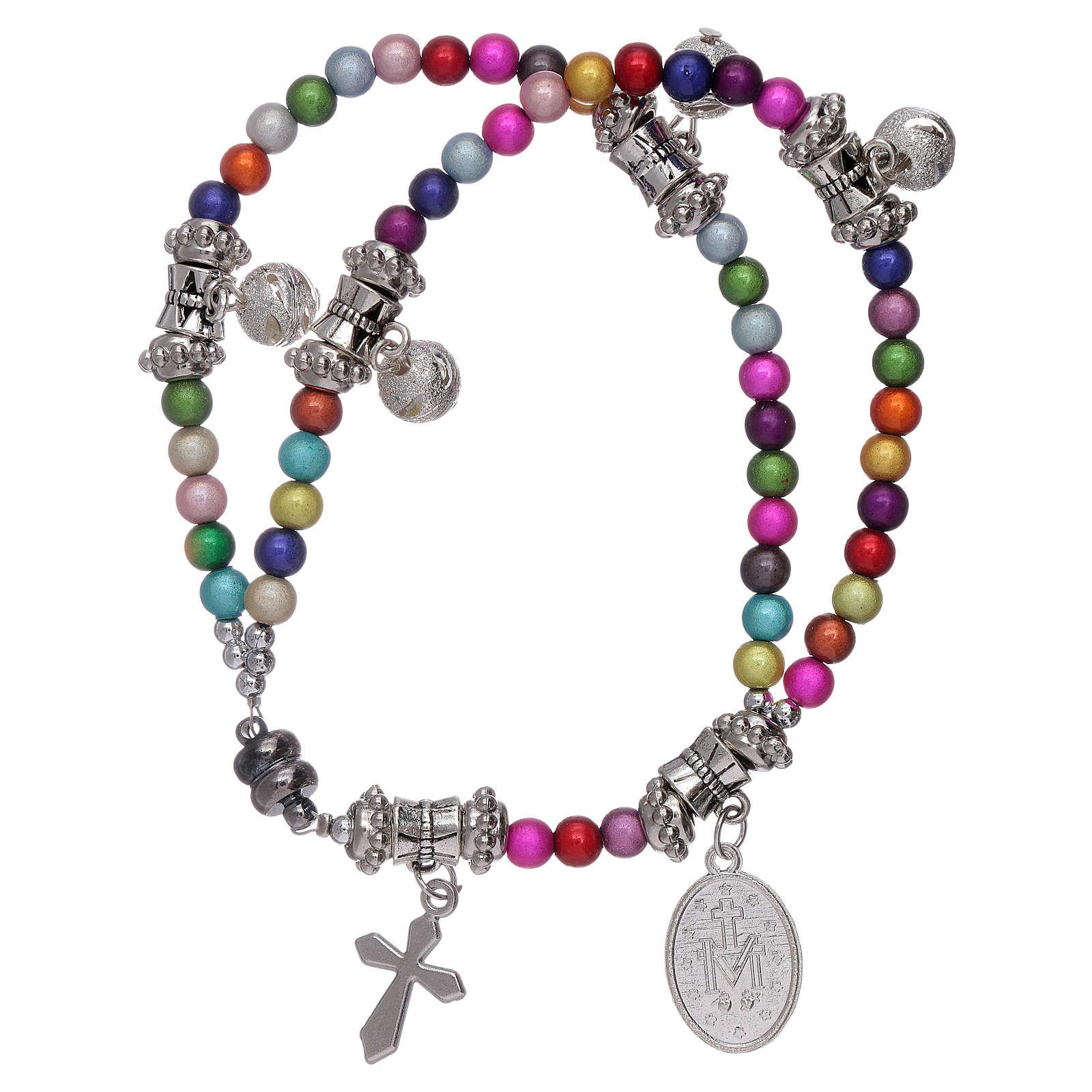 Bracciale rosario grani acrilici multicolor con ciondoli 4