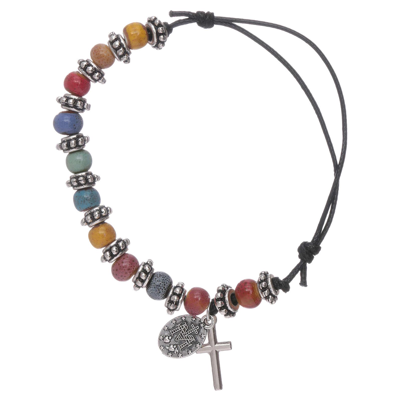 Bracelet grains verre multicolore 7x5 mm et métal corde noire 4