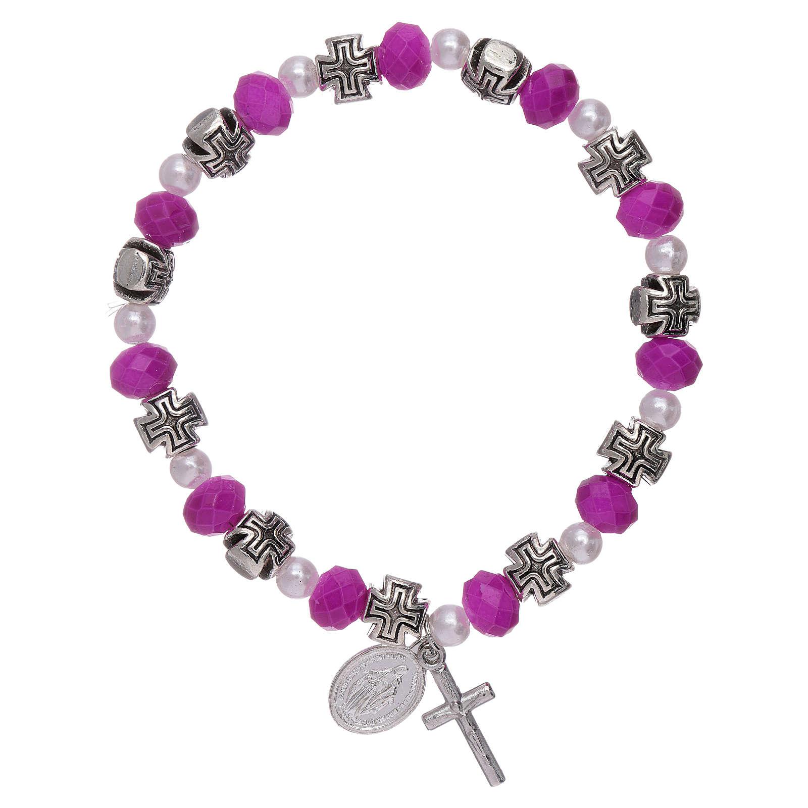 Bracelet élastique grains verre à facettes et cristal 8x6 mm 4