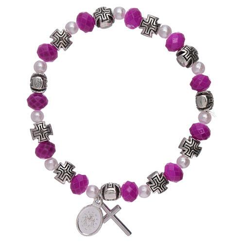 Bracelet élastique grains verre à facettes et cristal 8x6 mm 2