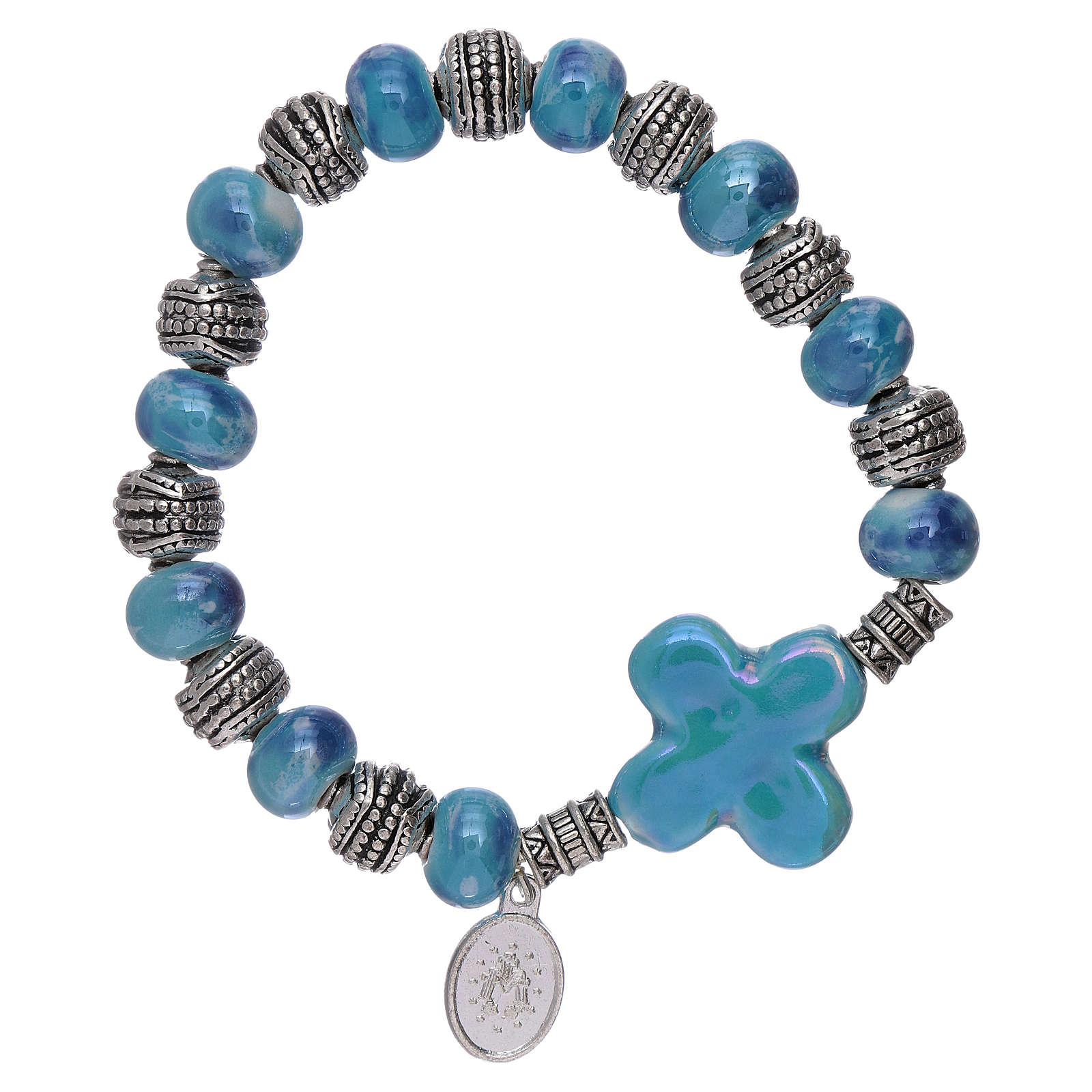 Bracciale elastico grani ceramica 10x8 mm e croce azzurro 4