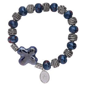 Elastic bracelet with ceramic grains 10x8 mm and blue cross s2