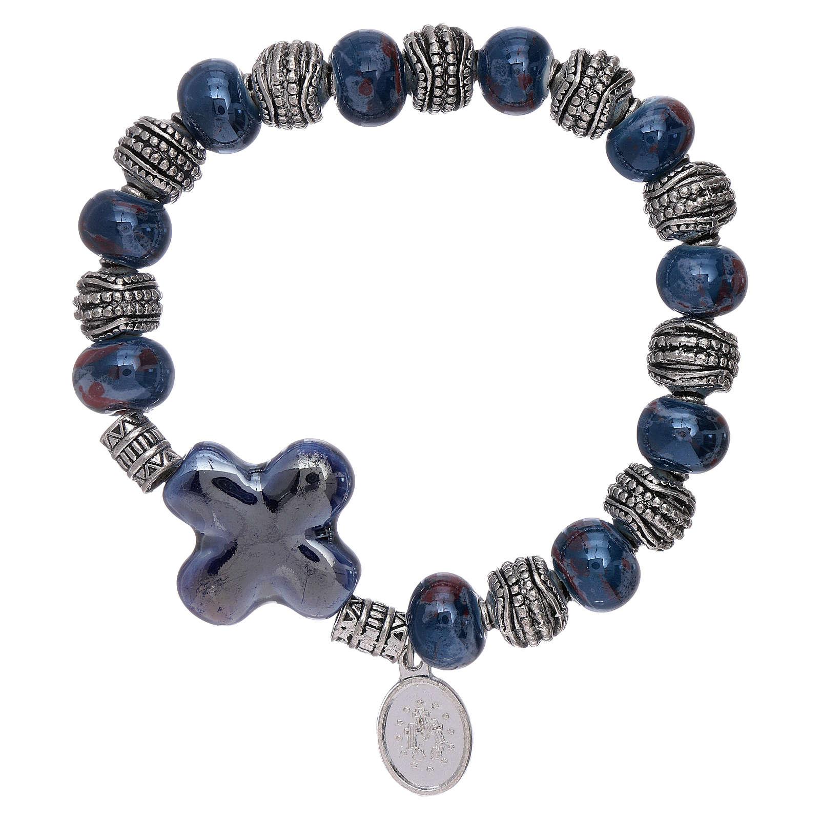 Bransoletka elastyczna koraliki ceramika 10x8 mm i krzyż niebieski 4