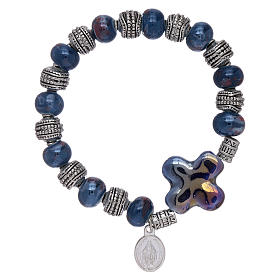 Elastic bracelet with ceramic grains 10x8 mm and blue cross s1