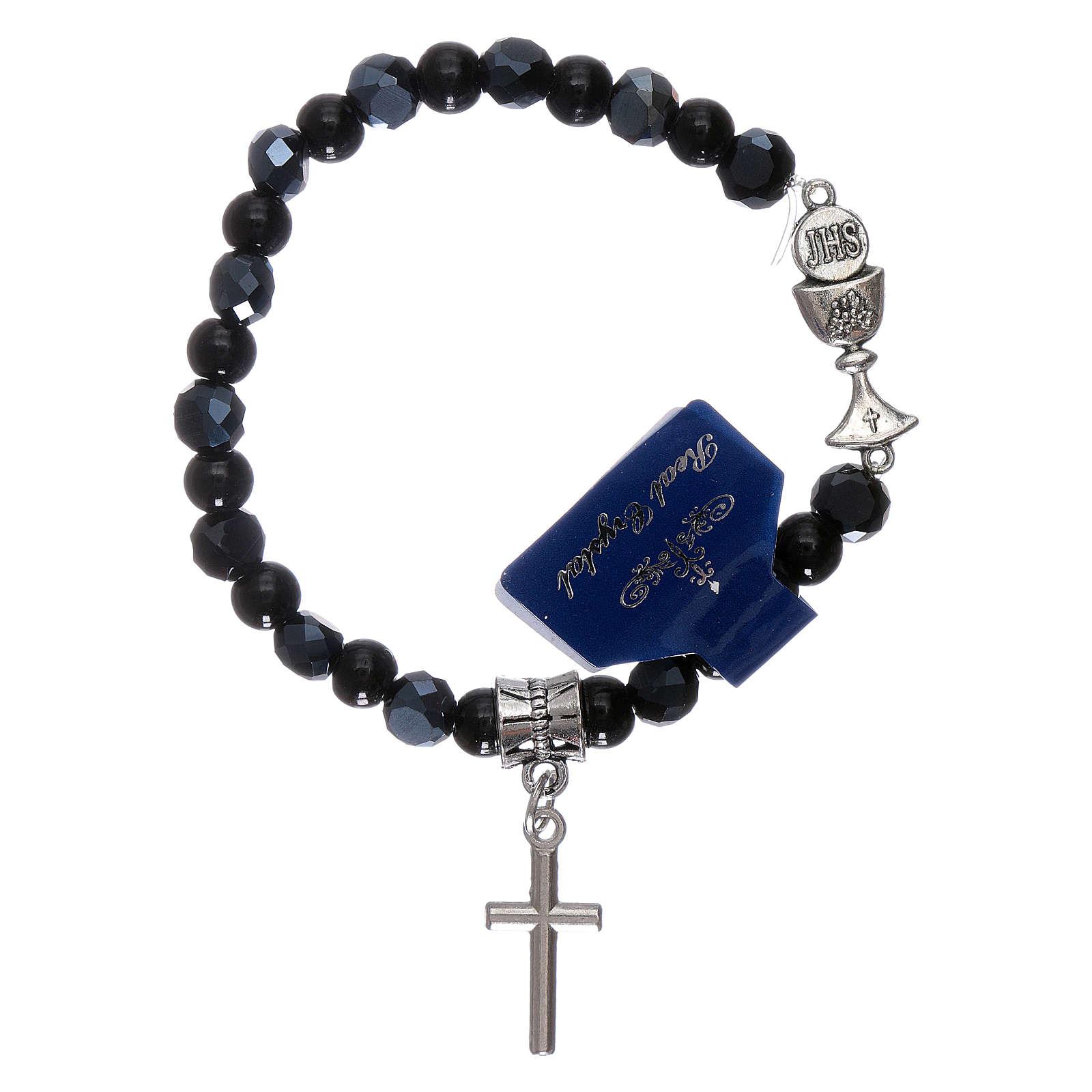 Elastic bracelet crystal grains black 6 mm with Communion chalice 4