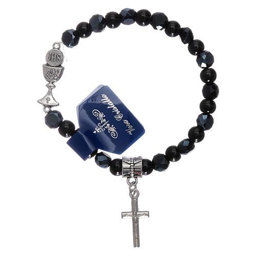 Elastic bracelet crystal grains black 6 mm with Communion chalice 1