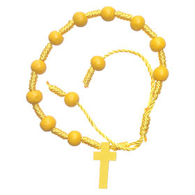 Bracelet in rope and wooden yellow grains diameter 8 mm s1