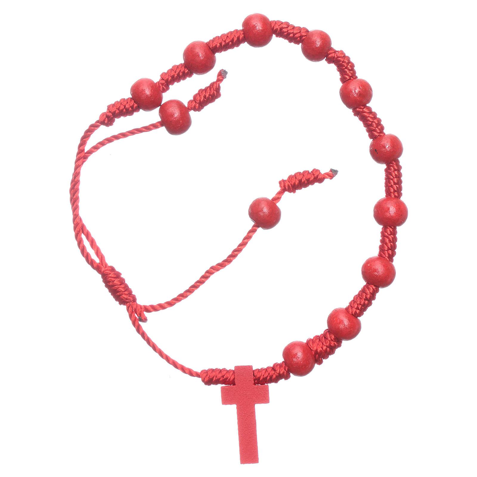 Pulsera de cuerda granos madera roja 7 mm 4