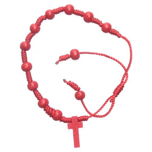 Pulsera de cuerda granos madera roja 7 mm 1