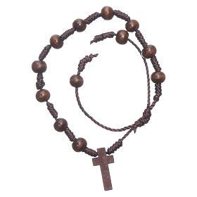 Bracciale in corda grani legno marrone 8 mm s1
