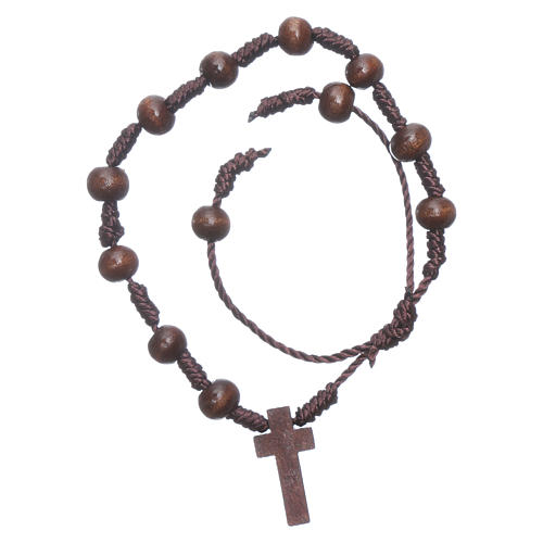 Bracciale in corda grani legno marrone 8 mm 1