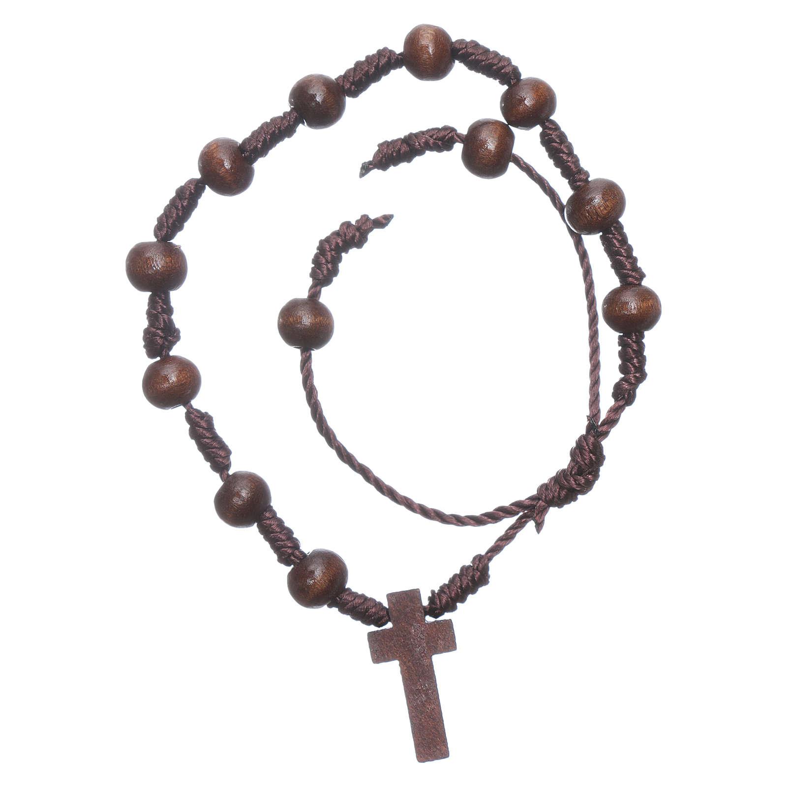 Rope bracelet in wooden brown grains 8 mm 4