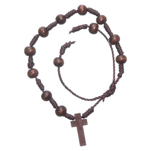 Rope bracelet in wooden brown grains 8 mm 1