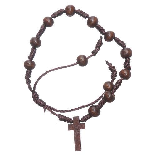 Rope bracelet in wooden brown grains 8 mm 2