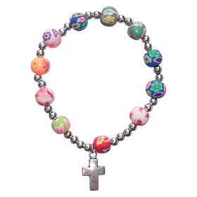 Elastischer Zehner Armband multicolor Fimo Perlen s2
