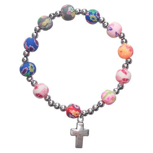 Elastischer Zehner Armband multicolor Fimo Perlen 1