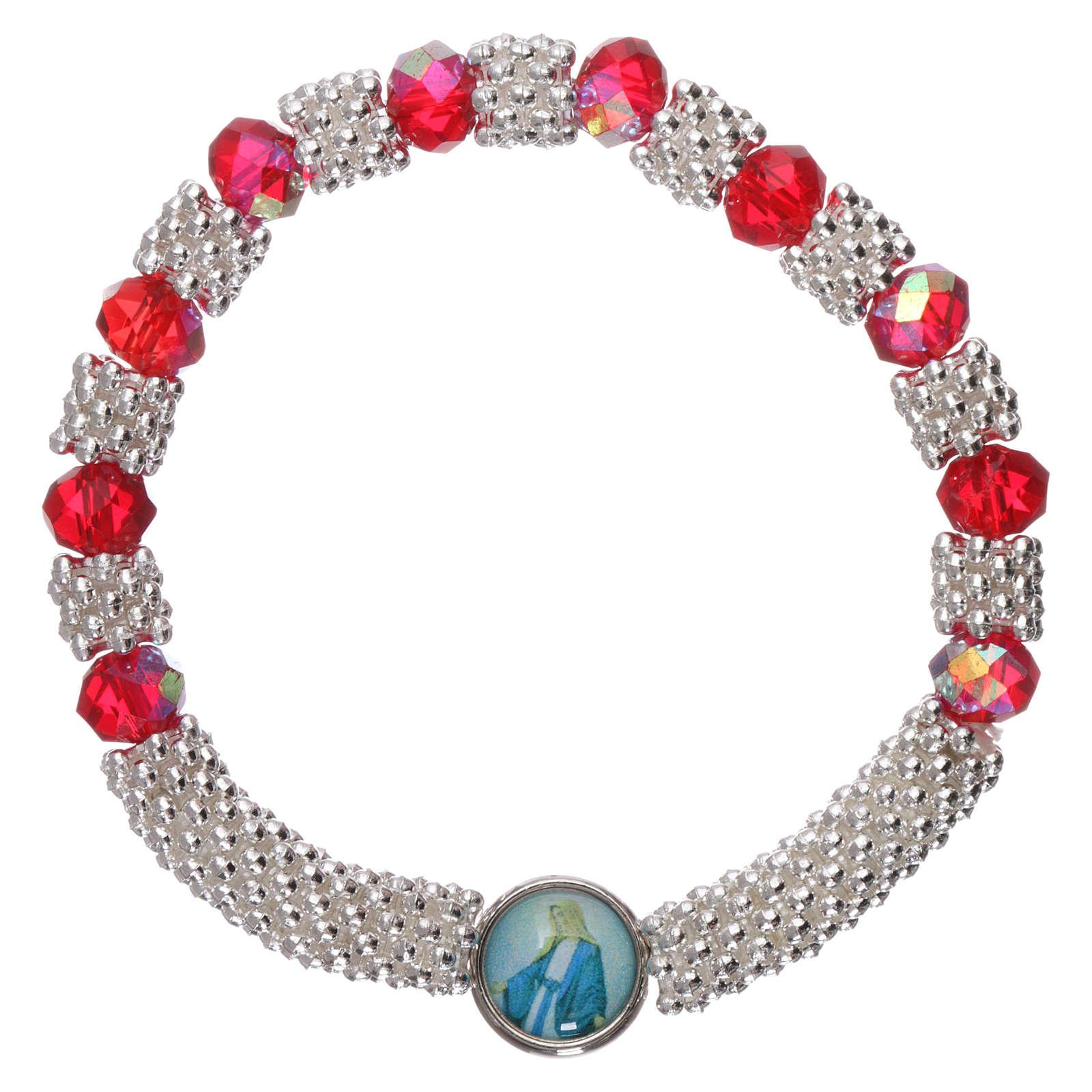 Bracciale decina elastico mezzo cristallo rubino grani sfaccettati 3x5 mm 4