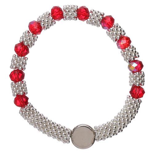 Bracciale decina elastico mezzo cristallo rubino grani sfaccettati 3x5 mm 2