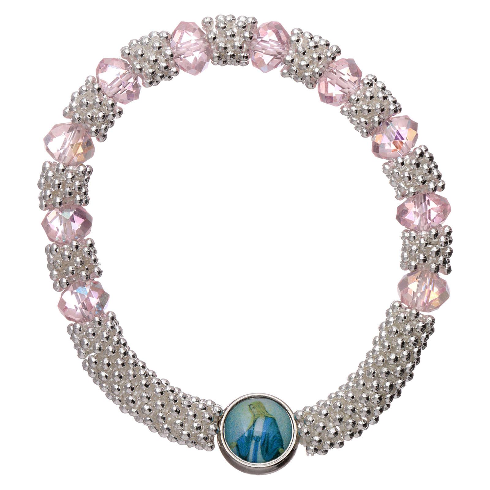 Bracciale decina elastico mezzo cristallo rosa grani sfaccettati 3x5 mm 4