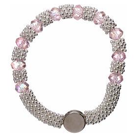 Bracciale decina elastico mezzo cristallo rosa grani sfaccettati 3x5 mm s2