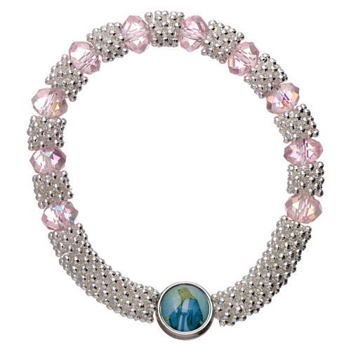 Bracciale decina elastico mezzo cristallo rosa grani sfaccettati 3x5 mm 1