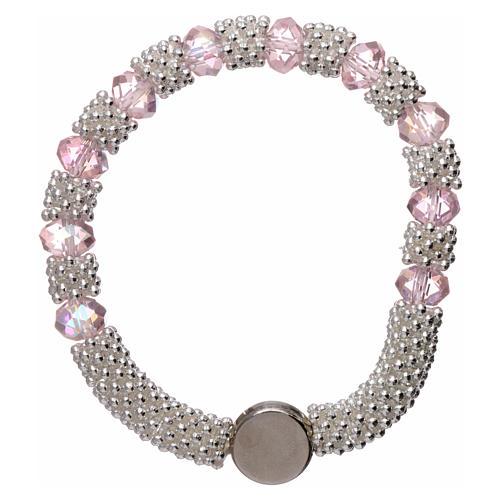 Bracciale decina elastico mezzo cristallo rosa grani sfaccettati 3x5 mm 2
