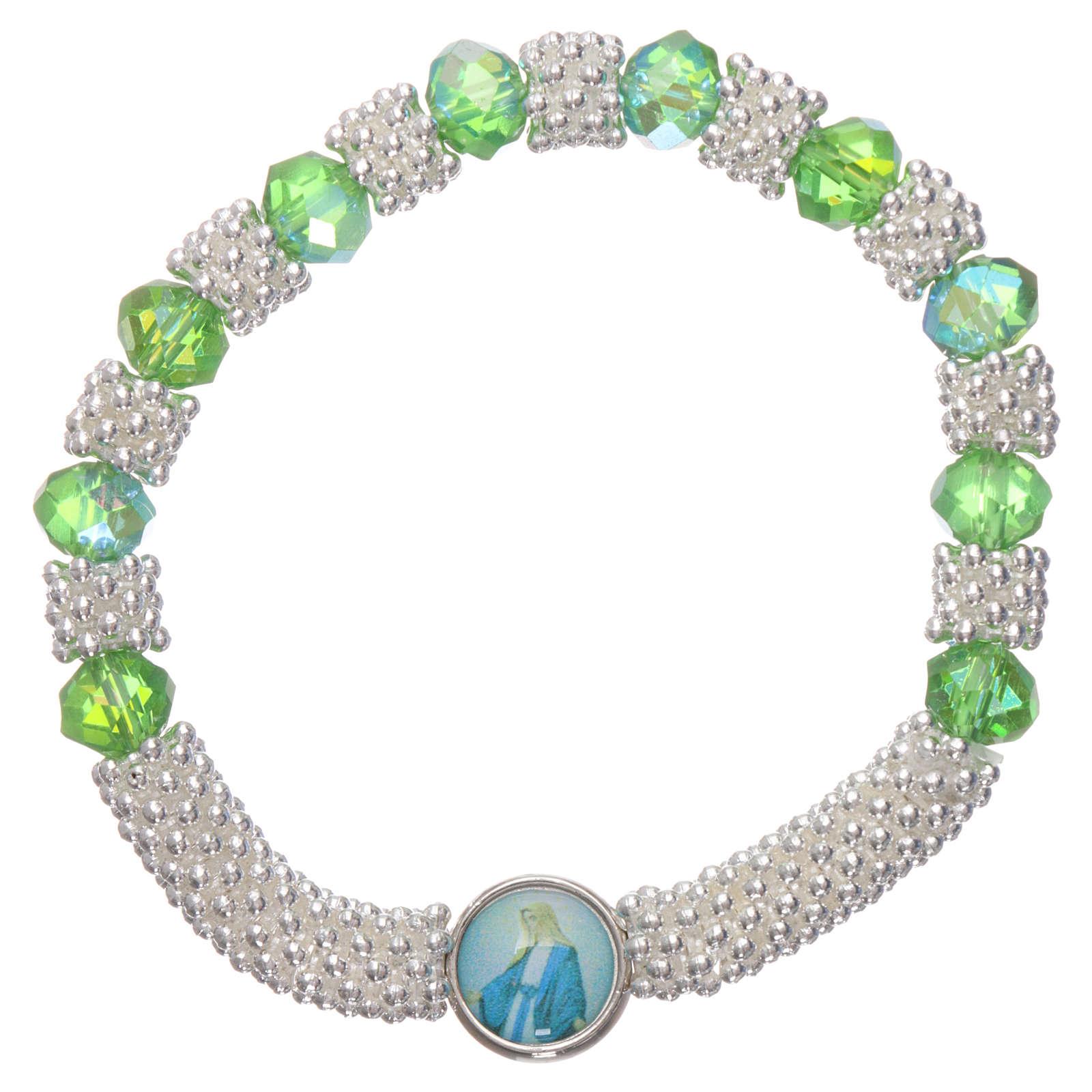Bracciale decina elastico mezzo cristallo verde smeraldo grani sfaccettati 3x5 mm 4