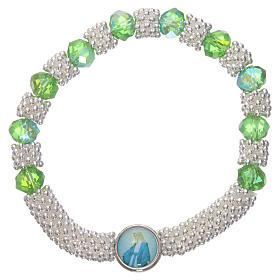 Bracciale decina elastico mezzo cristallo verde smeraldo grani sfaccettati 3x5 mm s1