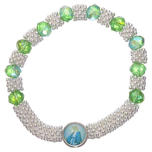 Bracciale decina elastico mezzo cristallo verde smeraldo grani sfaccettati 3x5 mm 1