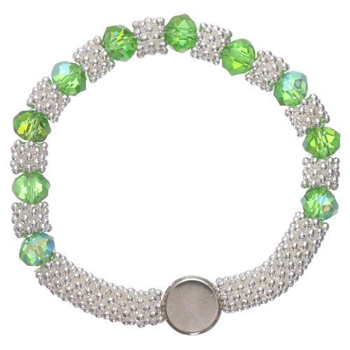 Bracciale decina elastico mezzo cristallo verde smeraldo grani sfaccettati 3x5 mm 2