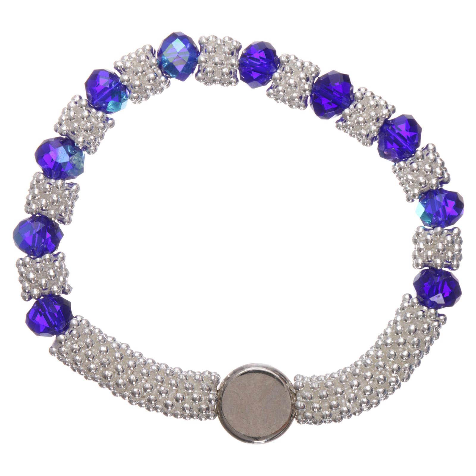 Bracciale decina elastico mezzo cristallo blu grani sfaccettati 3x5 mm 4
