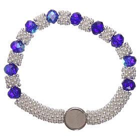 Bracciale decina elastico mezzo cristallo blu grani sfaccettati 3x5 mm s2
