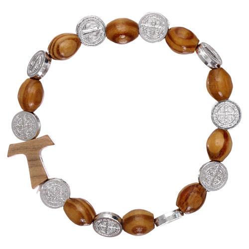 Elastischer Zehner Armband Medaille Hl. Benedikt und Holz Perlen 1