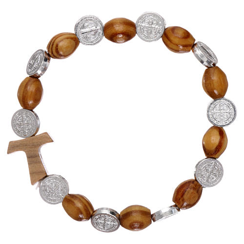 Rosary decade bracelet in pine and olive wood with Tau cross and oval grains 8x6 mm, Saint Benedict 1