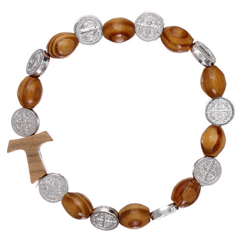 One decade rosary bracelet in pine and olive wood with Tau cross and oval beads 8x6 mm, Saint Benedict 1