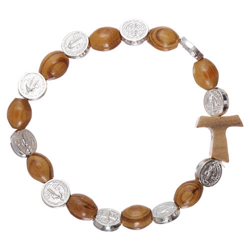 One decade rosary bracelet in pine and olive wood with Tau cross and oval beads 8x6 mm, Saint Benedict 2